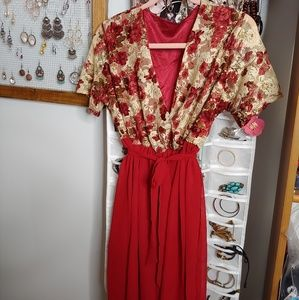 BNWOT stunning blood red flowy dress
